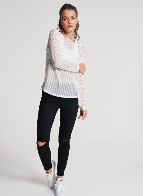 Pi π Kendinden Desenli Bluz Beyaz